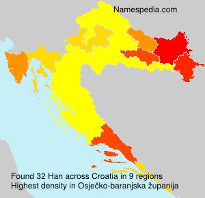 Surname Han in Croatia
