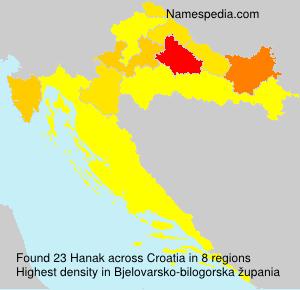 Surname Hanak in Croatia