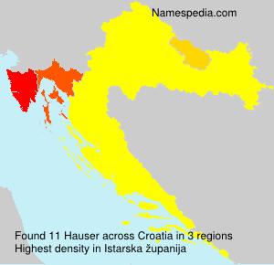 Surname Hauser in Croatia