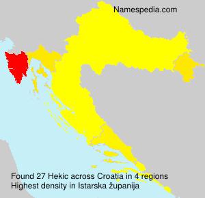 Surname Hekic in Croatia