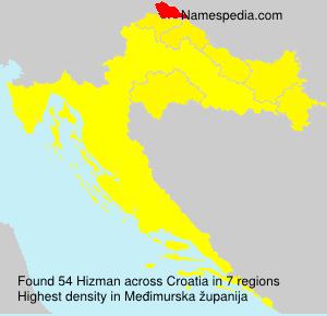 Surname Hizman in Croatia