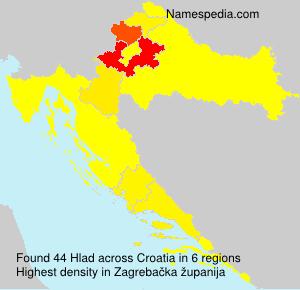 Surname Hlad in Croatia