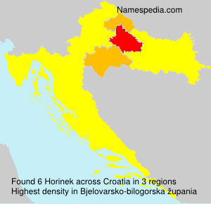 Surname Horinek in Croatia