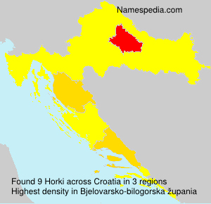 Surname Horki in Croatia