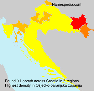 Surname Horvath in Croatia