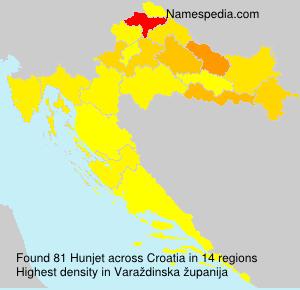 Surname Hunjet in Croatia