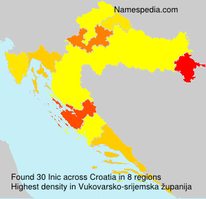 Surname Inic in Croatia