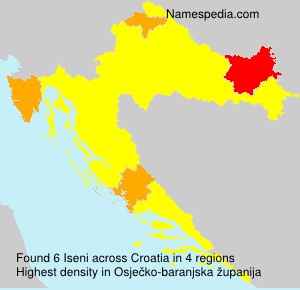 Surname Iseni in Croatia