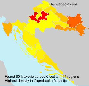 Surname Ivakovic in Croatia