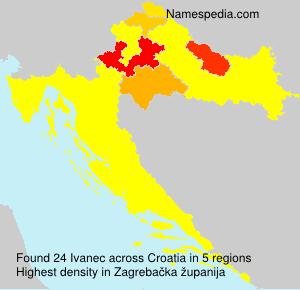 Surname Ivanec in Croatia