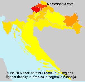 Surname Ivanek in Croatia