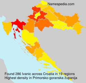 Surname Ivanic in Croatia
