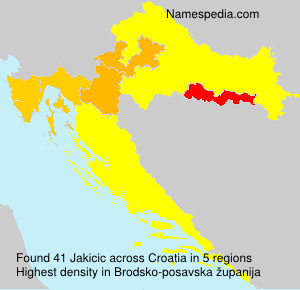 Surname Jakicic in Croatia