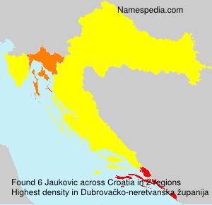 Surname Jaukovic in Croatia