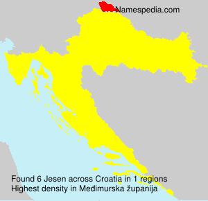 Surname Jesen in Croatia