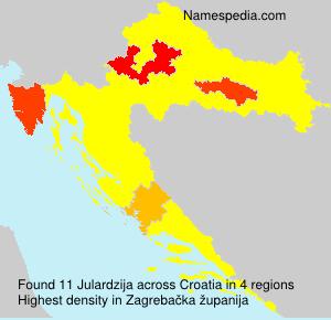 Surname Julardzija in Croatia