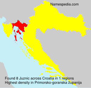 Surname Juznic in Croatia