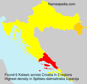 Surname Kalasic in Croatia