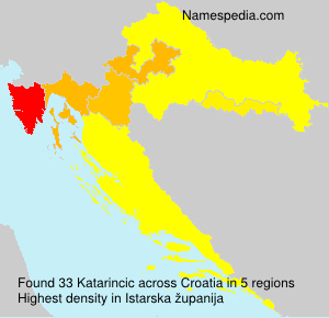 Surname Katarincic in Croatia
