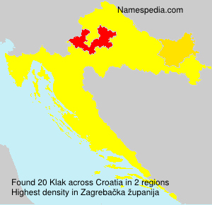 Surname Klak in Croatia