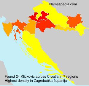 Surname Klickovic in Croatia