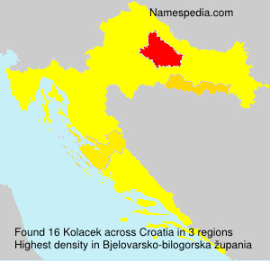 Surname Kolacek in Croatia