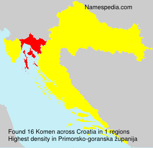 Surname Komen in Croatia