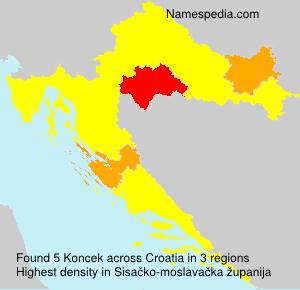 Surname Koncek in Croatia