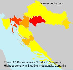 Surname Korkut in Croatia