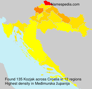 Surname Kozjak in Croatia
