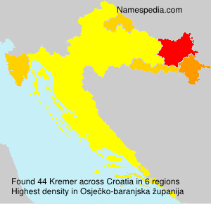 Surname Kremer in Croatia