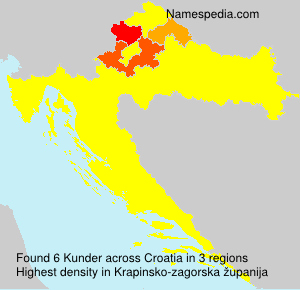 Surname Kunder in Croatia