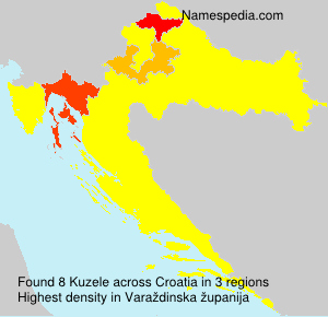 Surname Kuzele in Croatia
