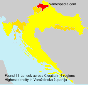 Surname Lencek in Croatia