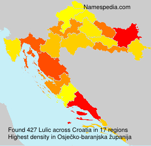 Surname Lulic in Croatia
