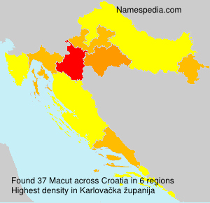 Surname Macut in Croatia