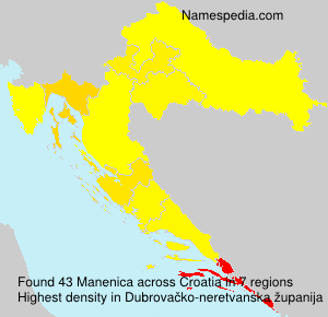 Surname Manenica in Croatia