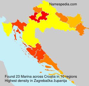Surname Marina in Croatia