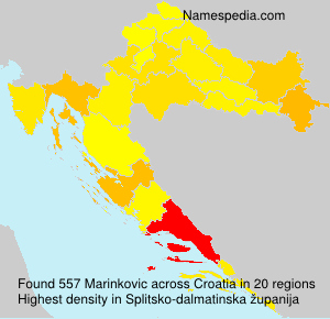 Surname Marinkovic in Croatia