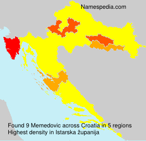 Surname Memedovic in Croatia
