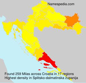 Surname Milas in Croatia