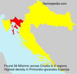Surname Milohnic in Croatia