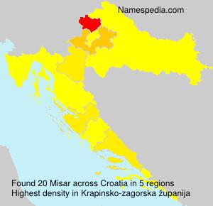 Surname Misar in Croatia