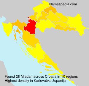 Surname Mladan in Croatia