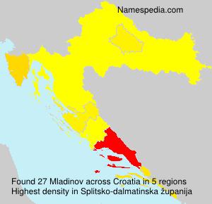 Surname Mladinov in Croatia