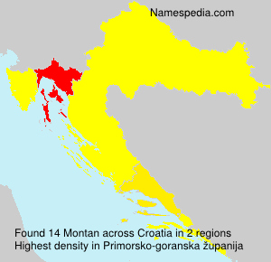 Surname Montan in Croatia