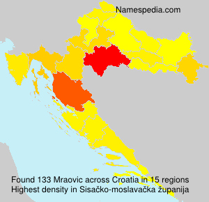 Surname Mraovic in Croatia