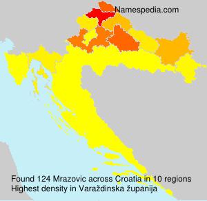 Surname Mrazovic in Croatia