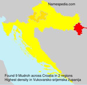 Surname Mudroh in Croatia