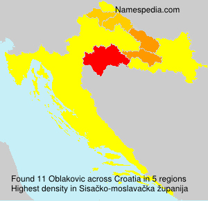 Surname Oblakovic in Croatia